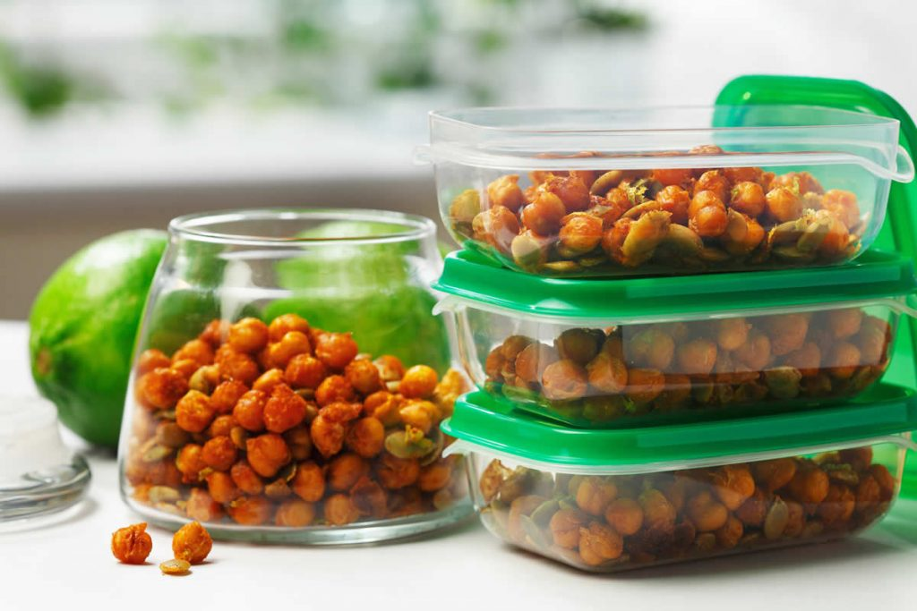 Crispy Chickpeas and Pumpkin Seeds with Lime
