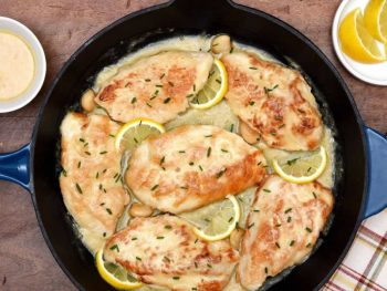 Five Ingredient Creamy Lemon Garlic Skillet Turkey feature