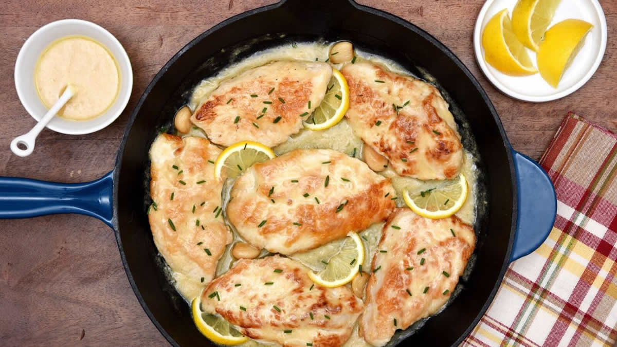 Five Ingredient Creamy Lemon Garlic Skillet Turkey feature