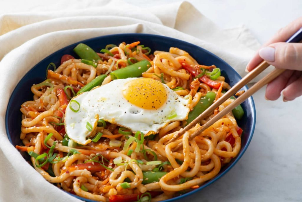 Kimchi Udon Stir-Fry with Fried Eggs