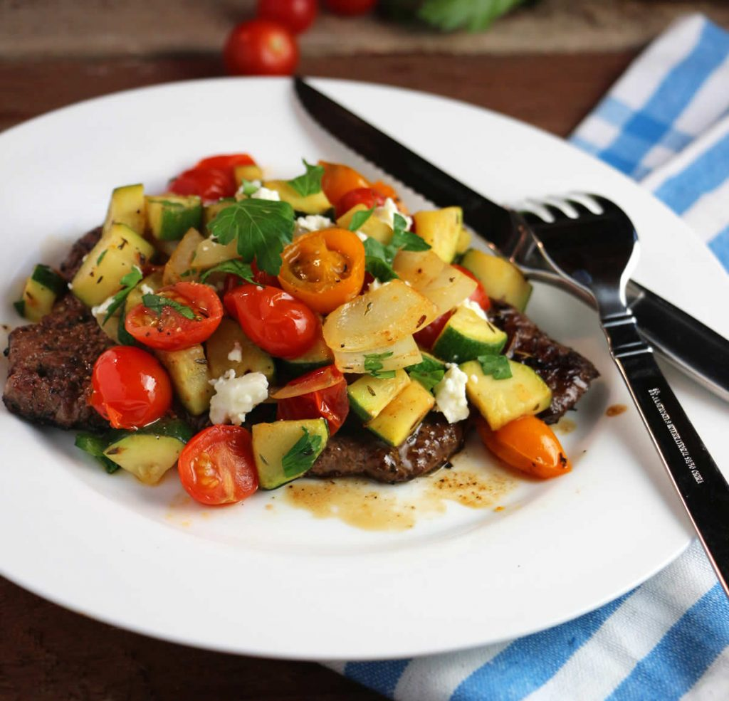 Speedy Skillet Steak with Rapid Ratatouille