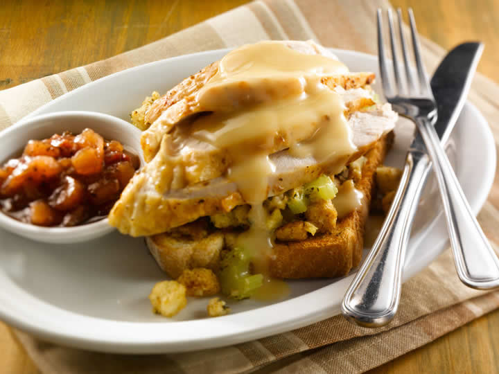 Hot Turkey Knife and Fork Sandwich
