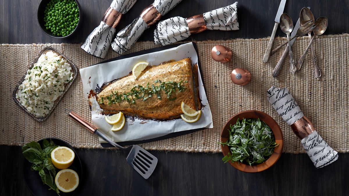 Baked Salmon with Honey Mustard Marinade
