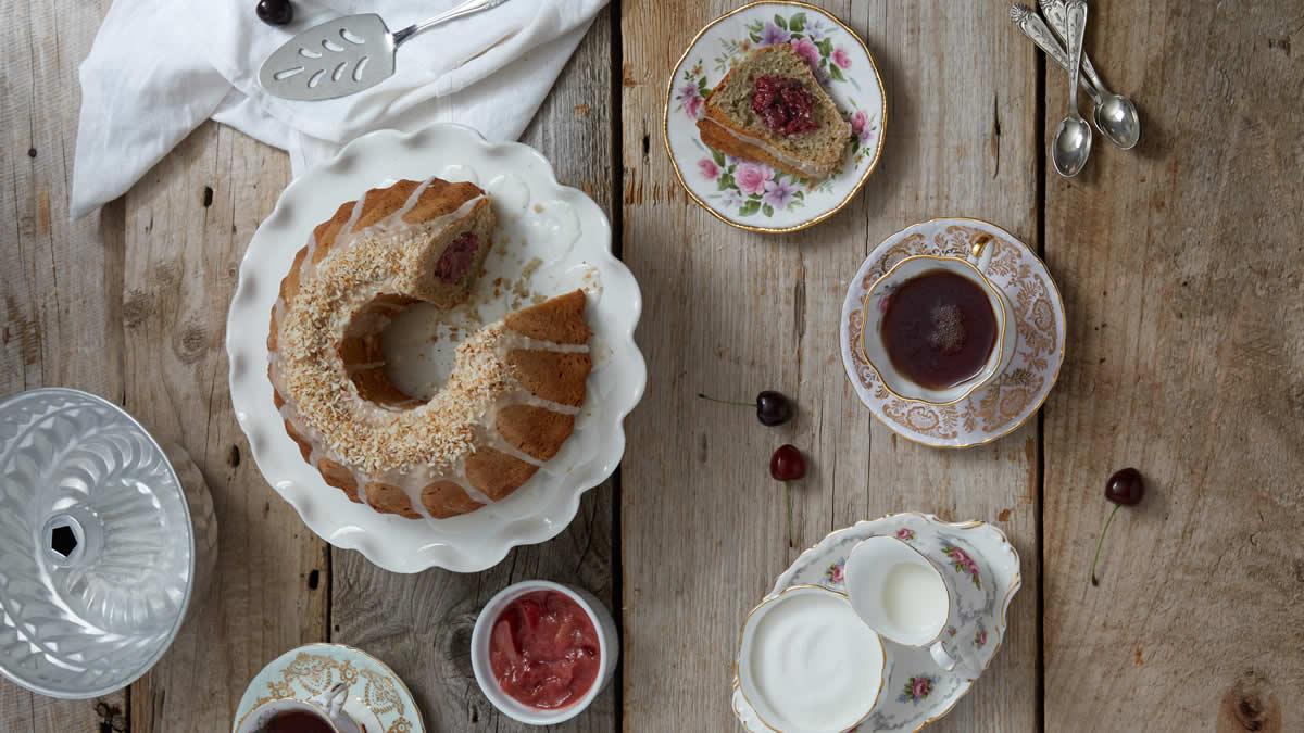 Cherry Rhubarb Bundt Cake