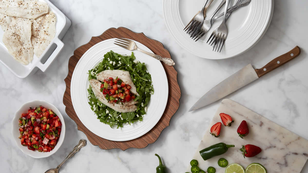 White Fish with Fresh-Cut Strawberry Salsa