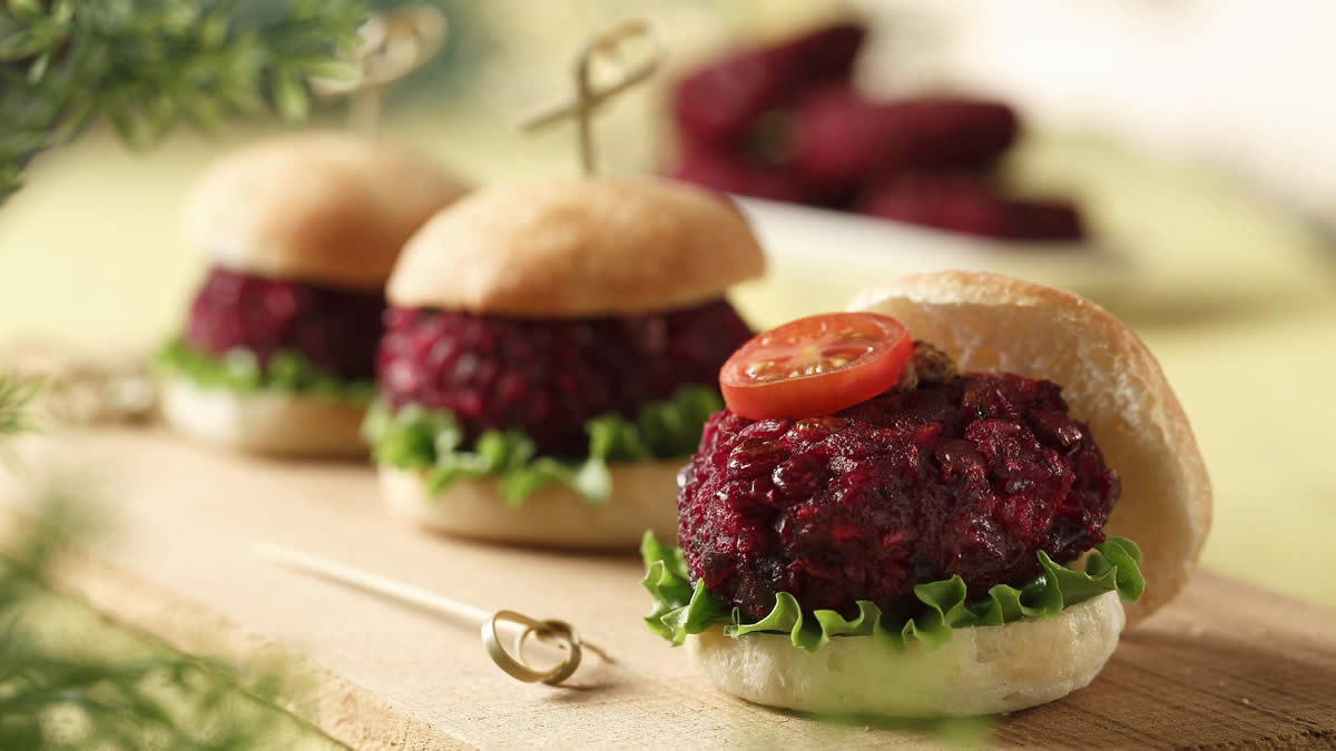 Beet and Lentil Burgers feature