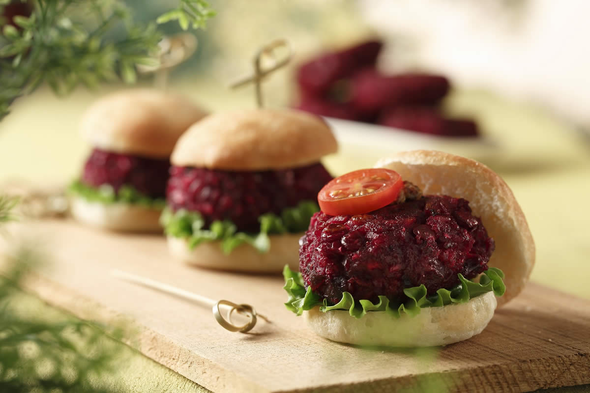 Beet and Lentil Burgers