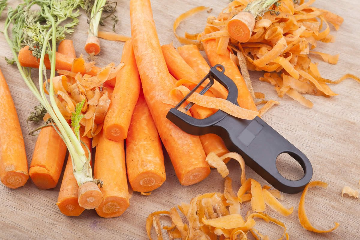 Making chicken stock - chopping carrots