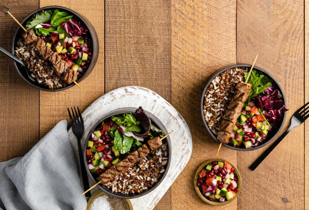 Skewered Beef Lentil Rice Bowl