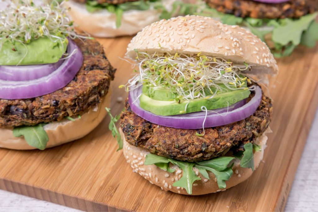 Sweet Potato Black Bean Flax Burgers