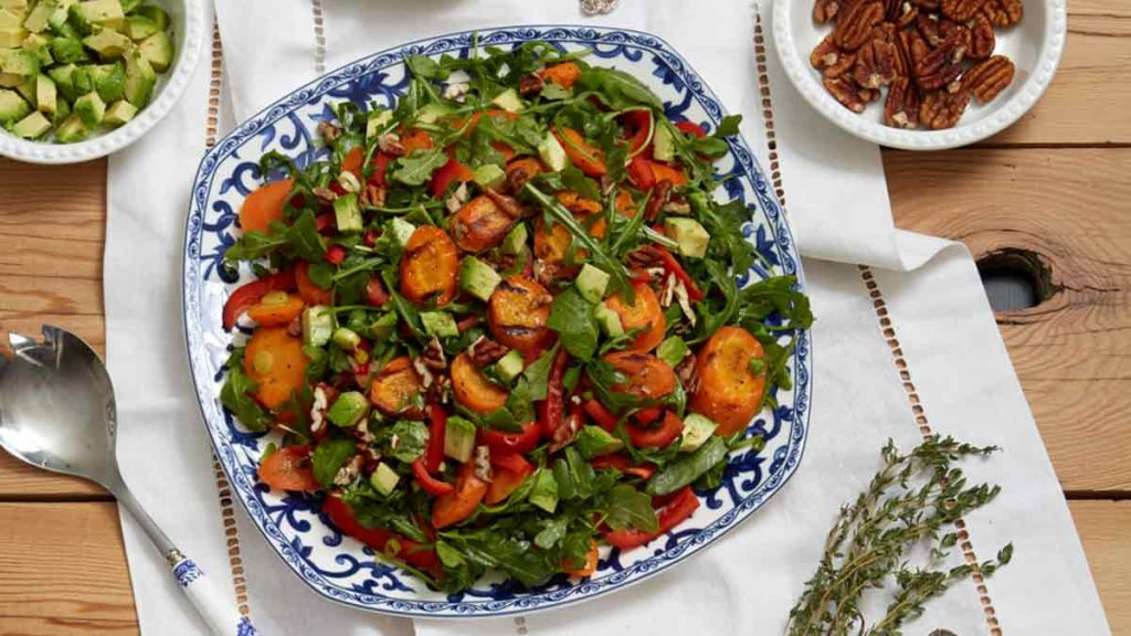 grilled carrot avocado salad