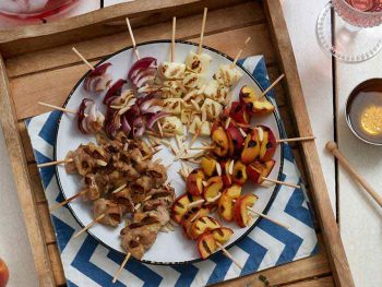 Honey Thyme Chicken Halloumi Cheese Peach Kabobs