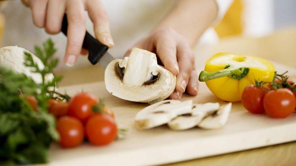 cutting mushrooms