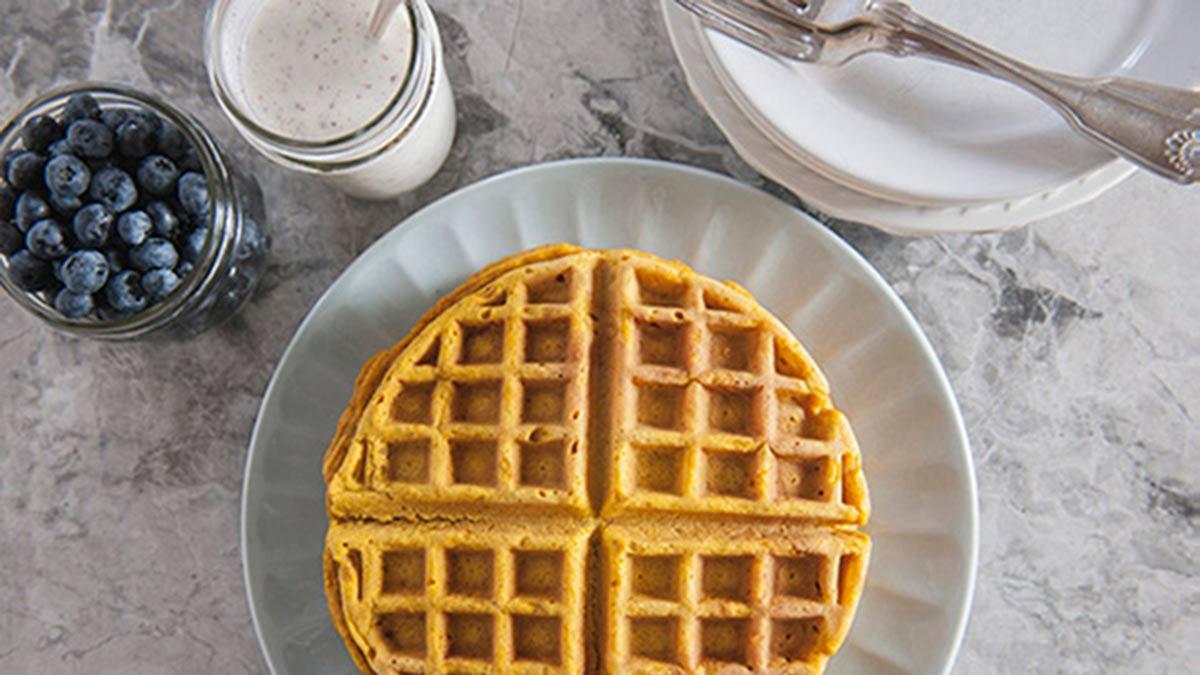 pumpkin-waffle-cinnamon-yogurt-sauce