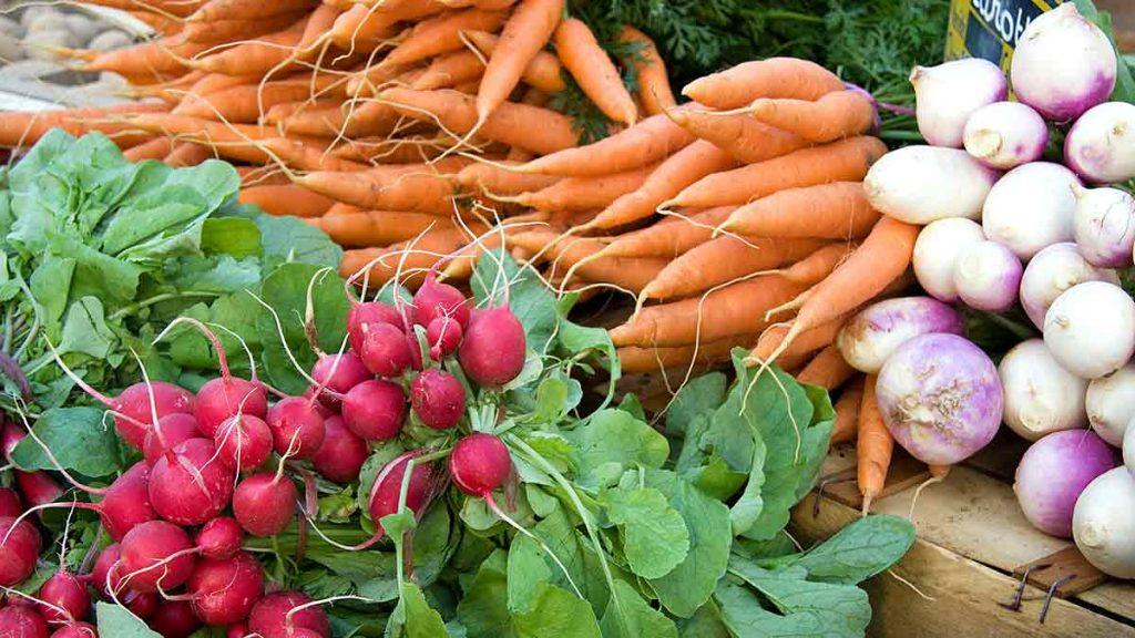 carrot radish and turnip on shelf