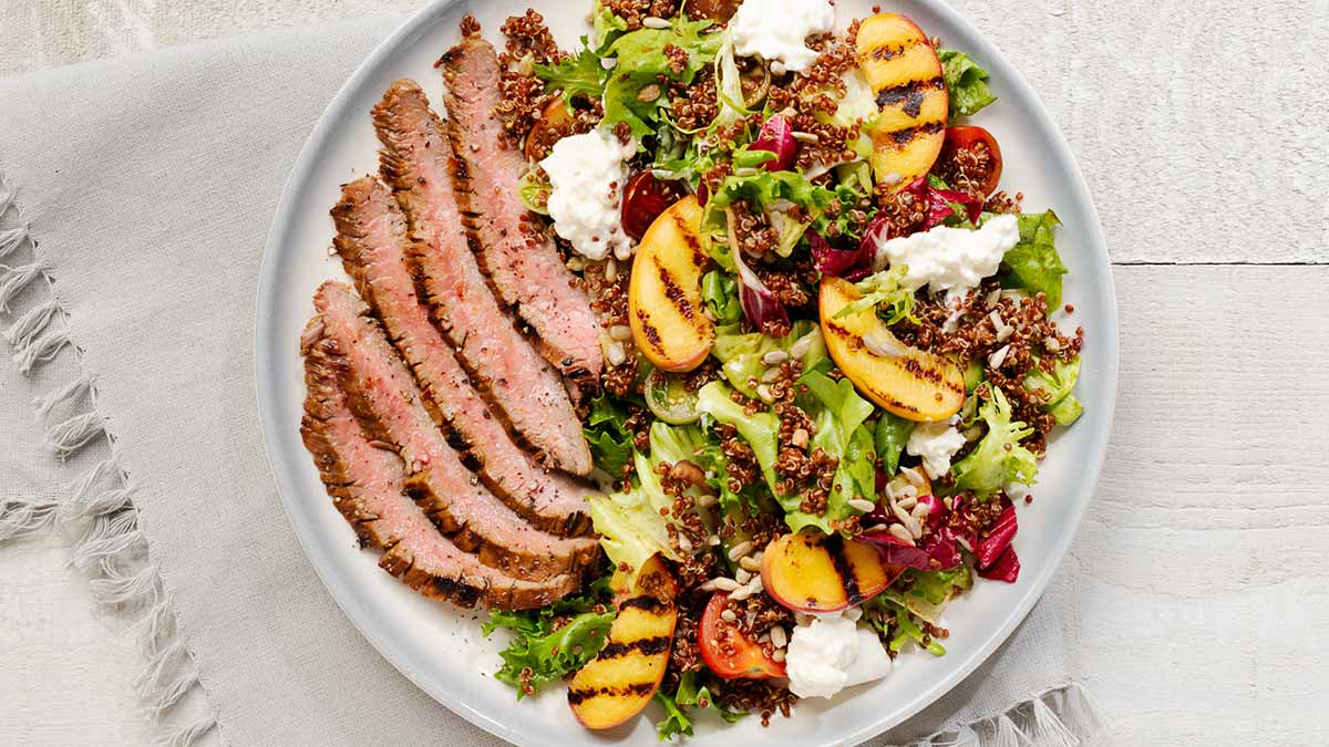 Marinated-Flank-Steak-Summer-Peach-Qunioa-Salad