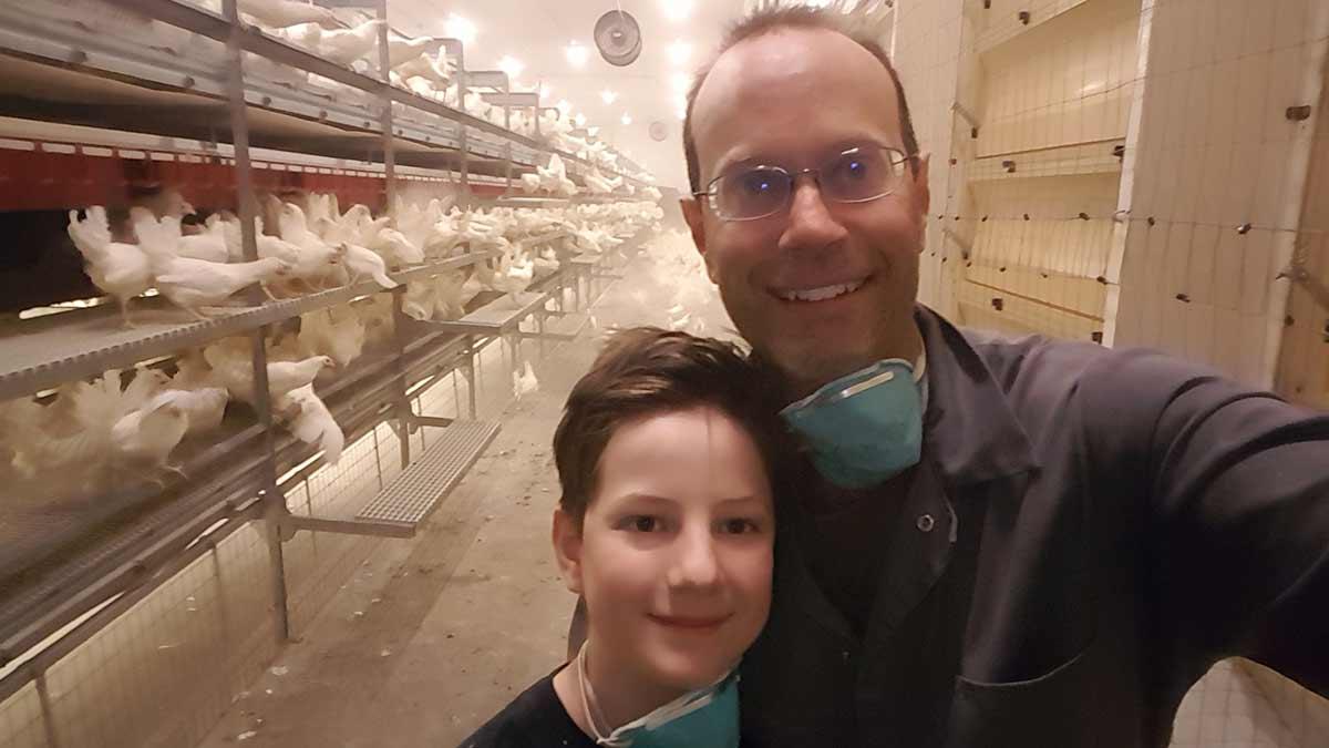 farmer in chicken barn