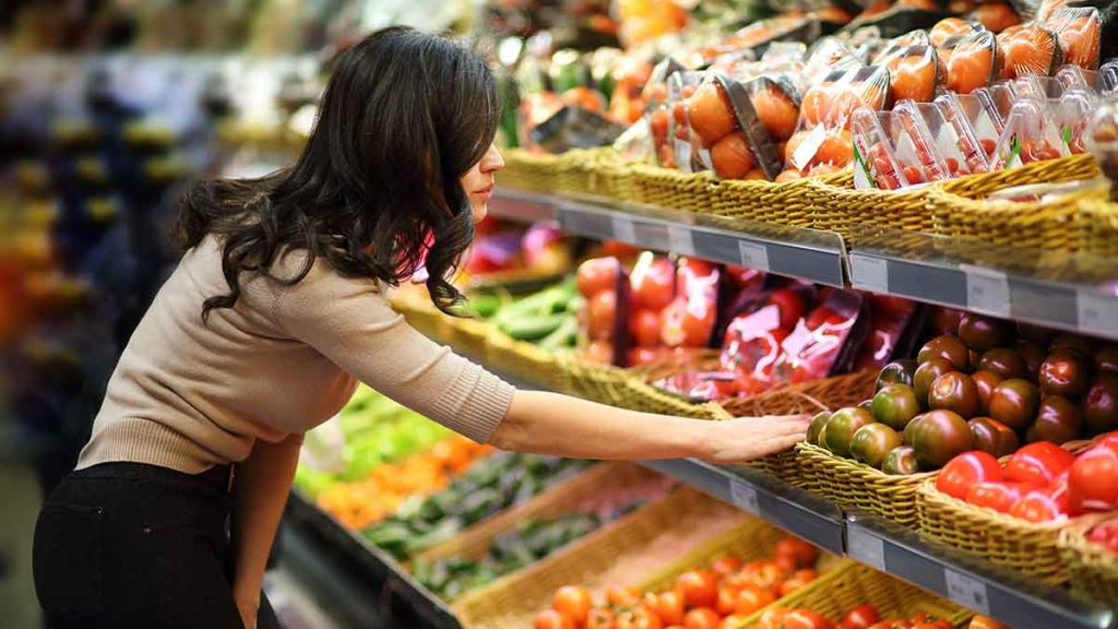 women shopping produce