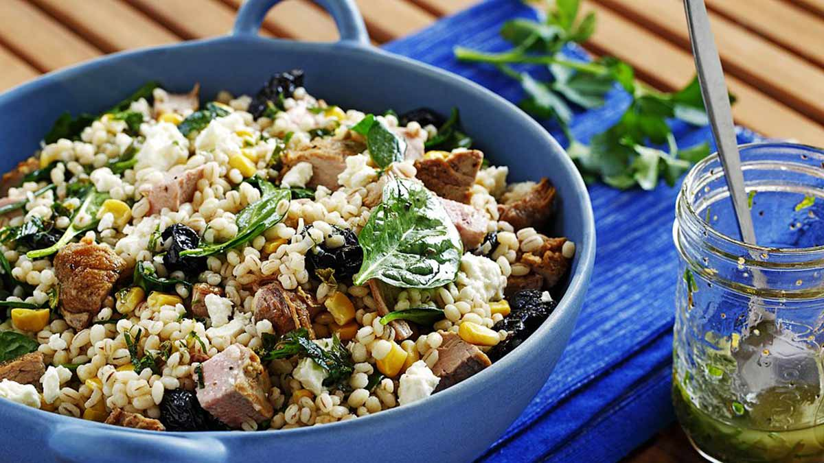barley-salad-with-dried-cherries-feta-grilled-pork-sauteed-spinach